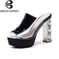 BONJOMARISA Rhinestone High Heel Women Summer Shoes 2017 New Fashion Sweet Open Toe Platform Sandals Big