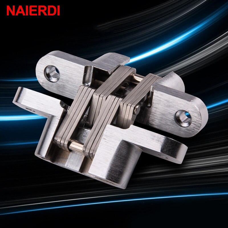 NAIERDI-4012 bisagras ocultas de acero inoxidable 304 16x70MM bisagra Invisible de puerta plegable con tornillo para herrajes de muebles