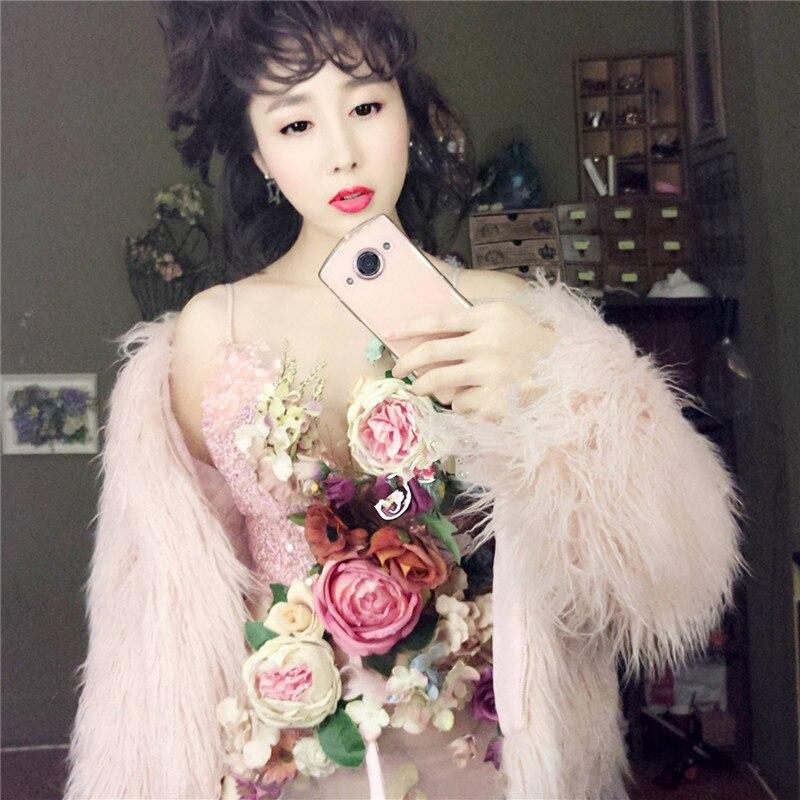 Mongole Mince Manteau Coréenne Fourrure Femelle Imitation Nouveau Gris Hiver Automne Rose Mode Mouton Court De rose Et FqfxO1