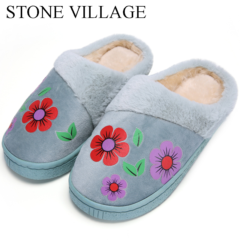 New Arrival Flower Print Flat Indoor Shoes Winter Plush Warm Home Slippers High Quality Women Slippers Size 36-40 flower print flat sliders
