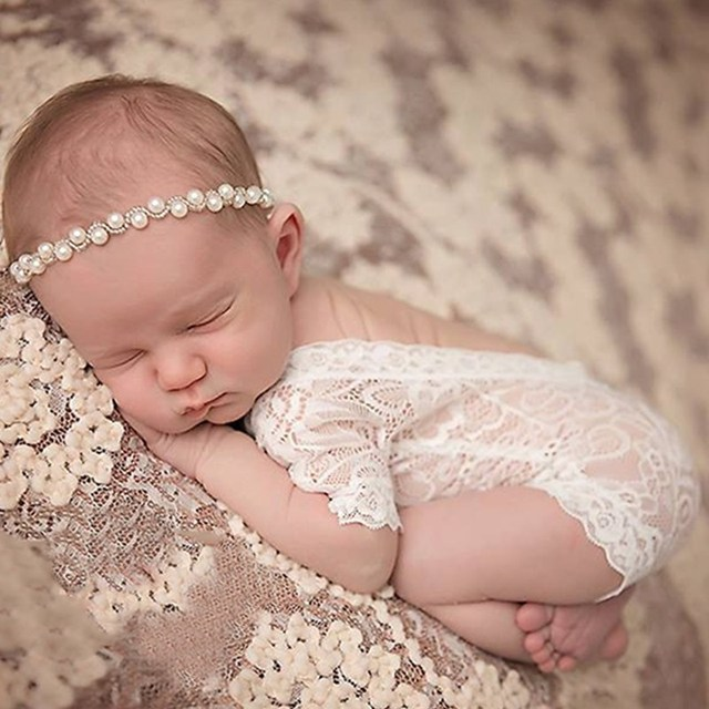 2018 newborn baby lace romper photography prop clothes newborn girl photo prop rompers vintage newborn romper