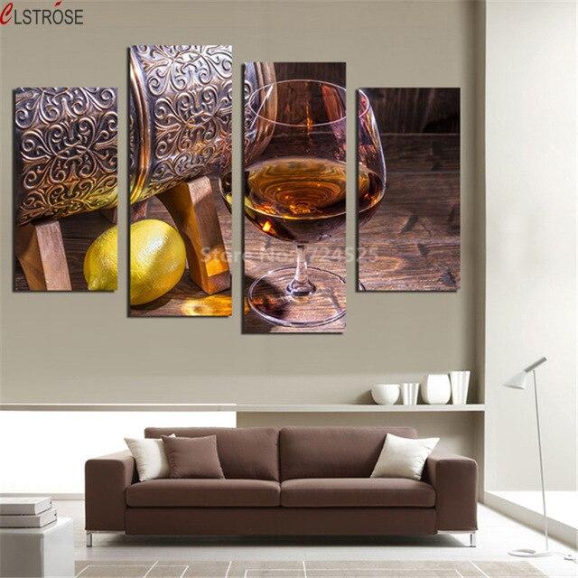 Clstrose 4 Panneaux Toile Fruits Citron Photo Verre De Vin Pour