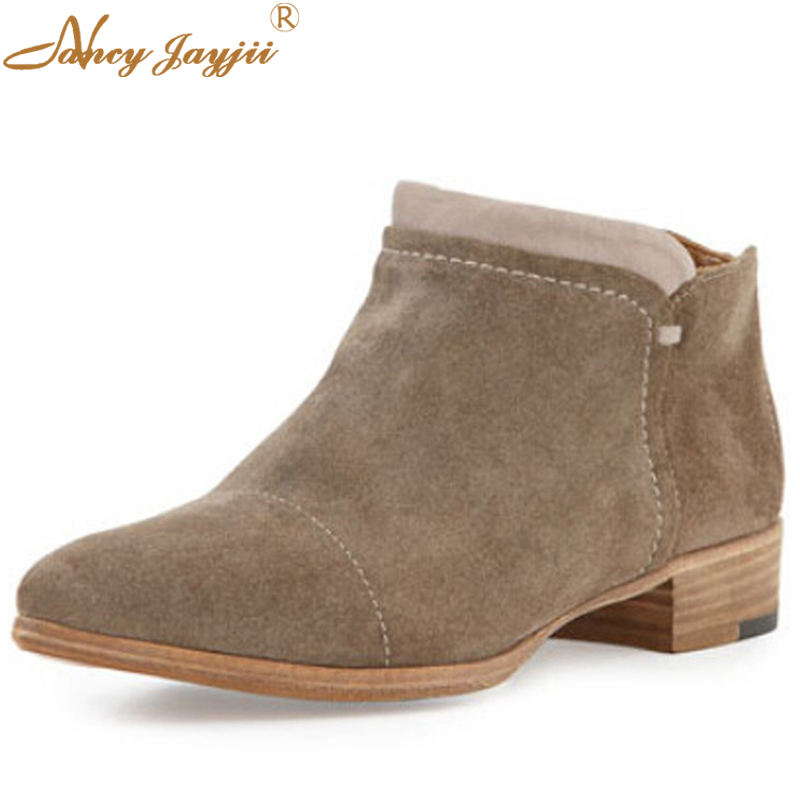 Nancyjayjii Women Fashion Ankle Boot Low Square Heels Round Toe Khaki Comfortable Walking Dress&Office Shoes ,Large Size 4-16.