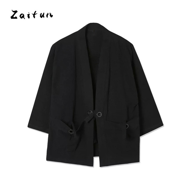 ZAITUN Linen Cotton Men Thin Jackets Japanese Traditional Kimono Loose Open Stitch Casual Outwear Windbreaker Plus Size 5XL