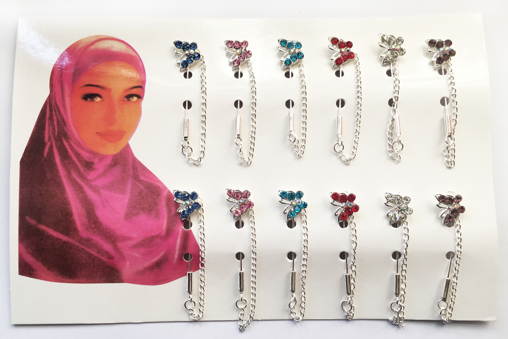 Butterfly Hijab Pins Wholesale Brooches 12PCS Flower Crystal Muslim For Women Safety Scarf Pin Silver Pins Mixed Color