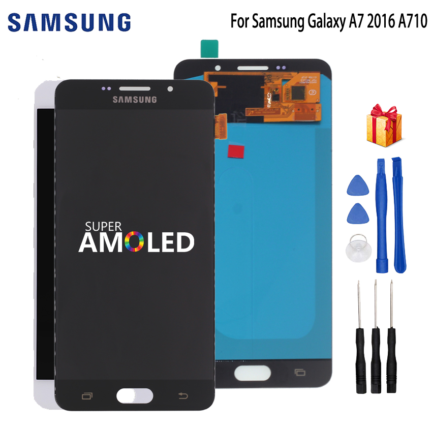 AMOLED LCD For SAMSUNG Galaxy A7 2016 Display Touch Screen Samsung A7100 A710F A710 Digitizer