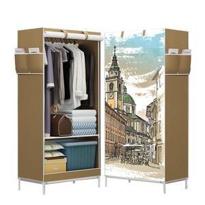 Image 1 - خزائن قماش متعدد الاستخدامات خزانة بانوراما طي الملابس خزانة الكرتون ثلاثية الأبعاد خزانة خزانة صغيرة خزانة
