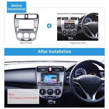 Seicane Din Car Radio Frame Fascia Trim Kit for 2008-2014 Honda City Ballade Manual AC Panel Plate CD Trim Panel Stereo Dash Kit