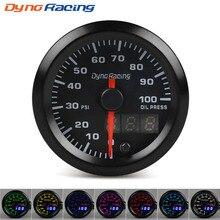 Dynoracing 2 ''52 мм двойной дисплей Датчик давления масла 7 цветов Led 0-100PSI датчик давления масла с шаговым мотором автомобильный измеритель BX101500