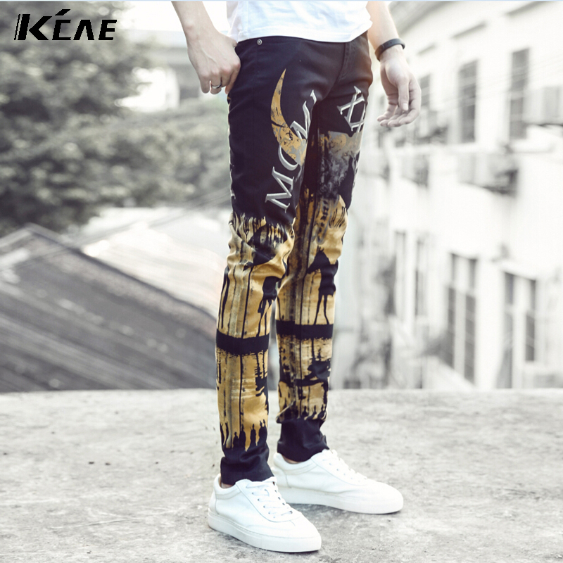 ФОТО Hot Sale Printed Jeans Men High Quality Elastic Skinny Jeans Denim Overall Pants 2016 New Designer Jeans Men