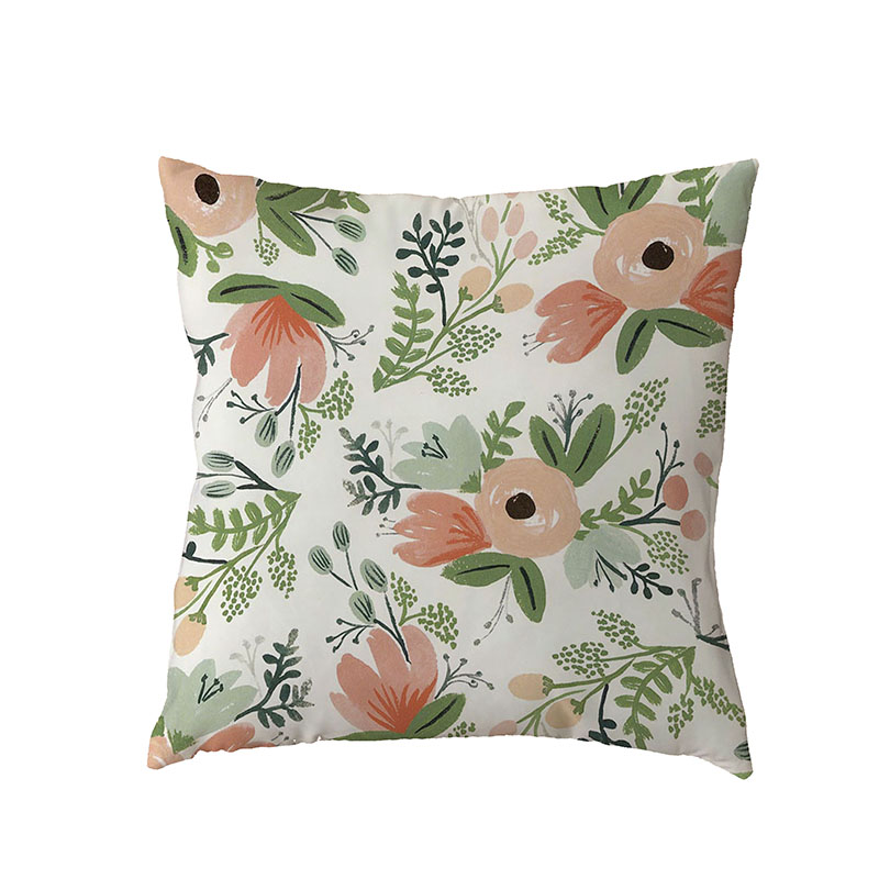 Colorful Flowers White Cushion Cover Tropical Rainforest Leaves Lounger For The Beach White Dove of Peace Peach Skin Pillow Case