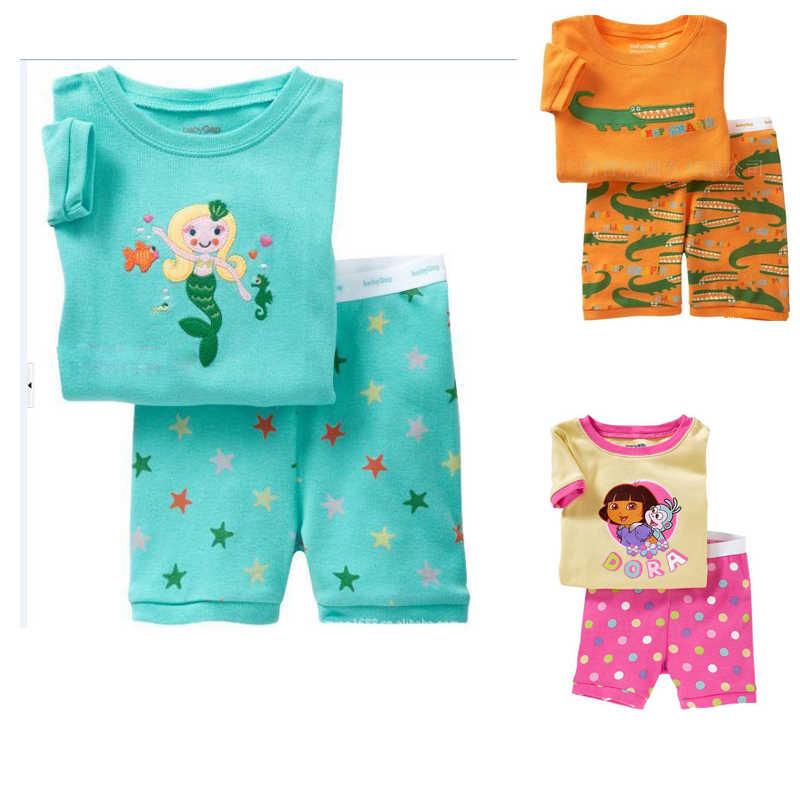 Meninos de Verão Conjuntos de Pijama Crianças Pijama Impressão Rooter Pijamas Crianças Pijamas Infantil Roupas Infantis Meninas Pijama
