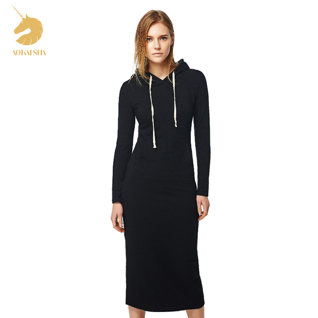 New 2016 Autumn and Winter Women Floor-Length Dress Casual Hips Long Style Hooded Dress Lady Thickening DressM15322
