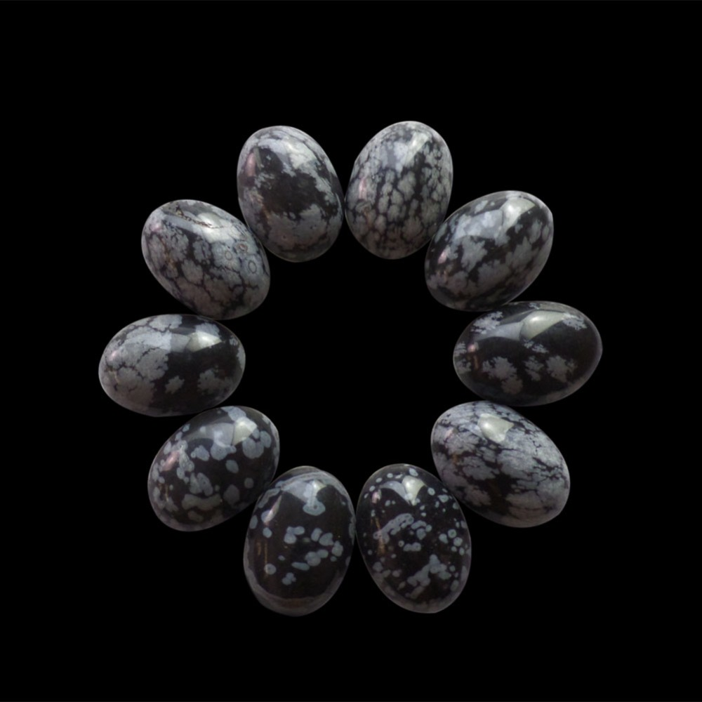 (Min.order 10$ mix)(10 pieces/lot)Wholesale Snowflake Obsidian Oval CAB Cabochon18x13x5mm Free Shipping Fashion Jewelry ZJ127255
