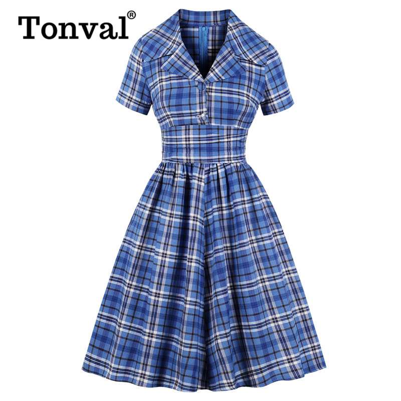 Tonval Blue Plaid High Waist Tunic Pleated Dress Women Turn Down Collar Button Up 50s Tartan Autumn Pockets Vintage Dresses