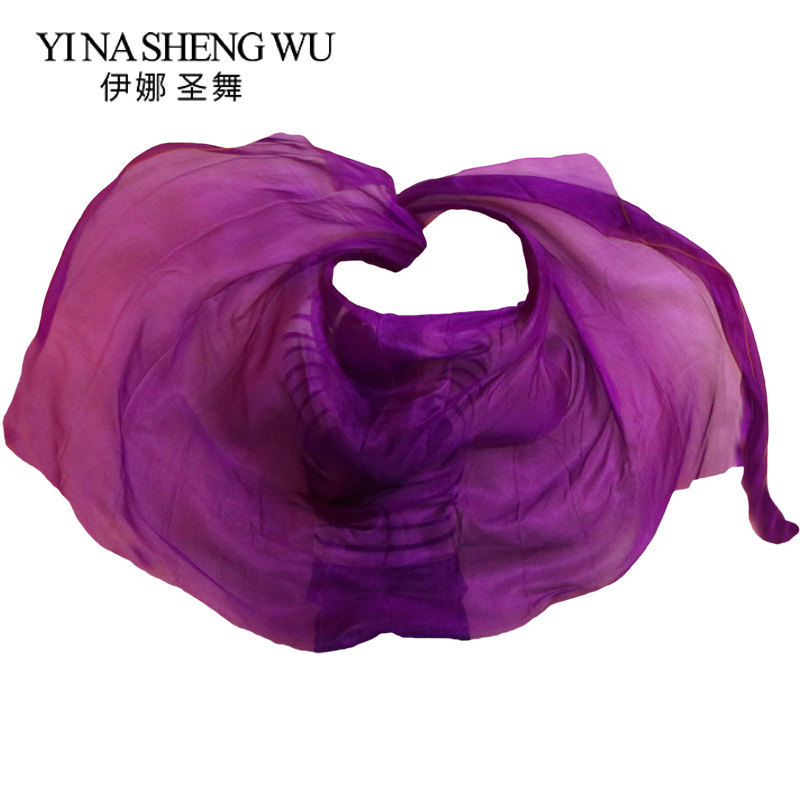 Silk Belly Dance Veil Belly Dance Veil Shawl Scarf Pure Purple Color Belly Dance Practice Performance Silk Veils 250/270*114 Cm