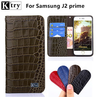 K Try Luxury Genuine Leather For Samsung J2 Prime Case Flip PU Leather Soft Silicon Back