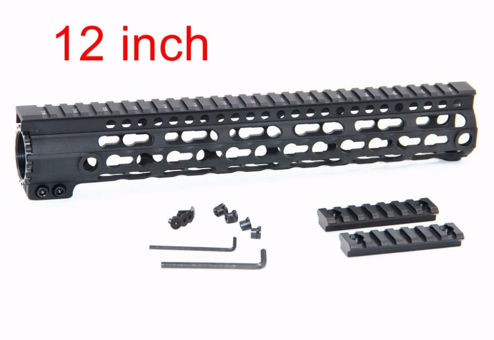 12 Durable mil-spec style matte finish lightweight aluminium handguard picatinny quad hunting shooting rail for AEG M4 M16 AR15 ak 47 tactical quad rail picatinny handguard system cnc aluminum full length tactical for ak rifles 26cm hunting gun accessories