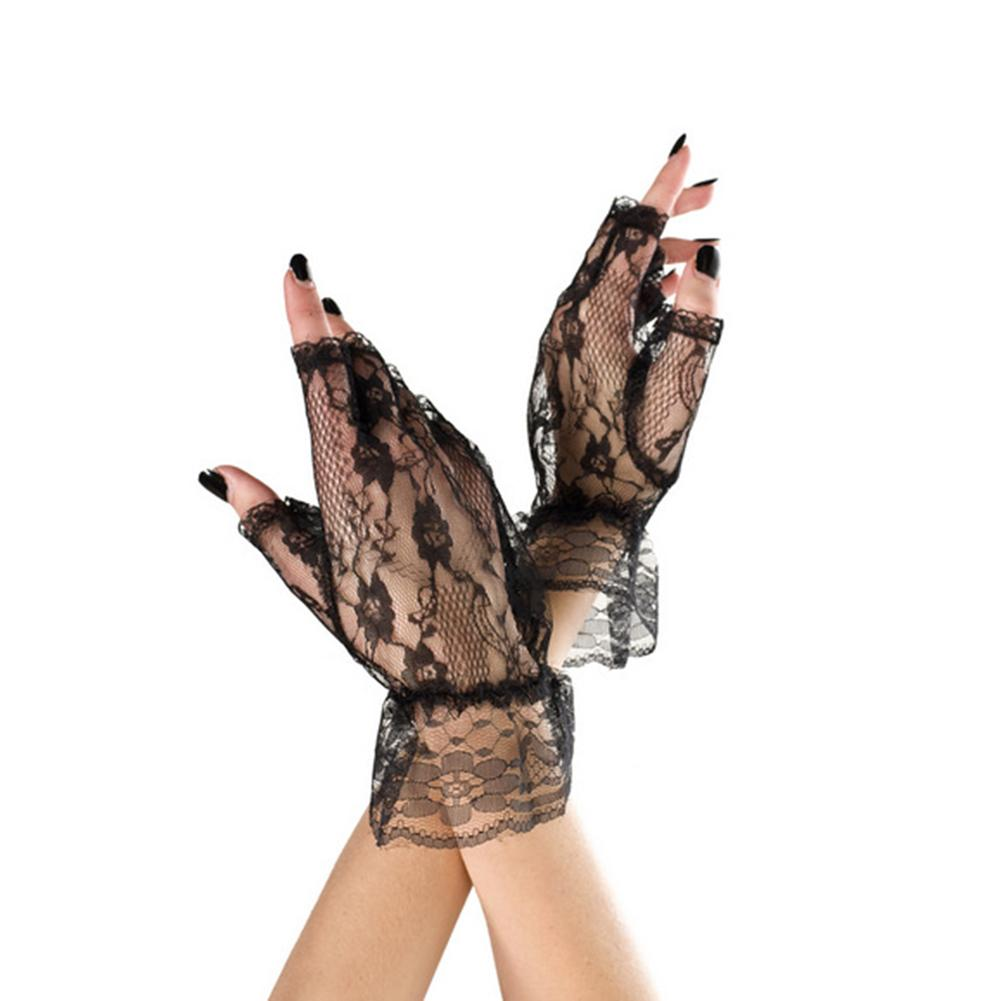 1 Pair Black Lace Ladies Short Fingerless Gloves Fishnet Goth Gothic Style Femme Erotic Lingerie Costumes Accessories Temptation
