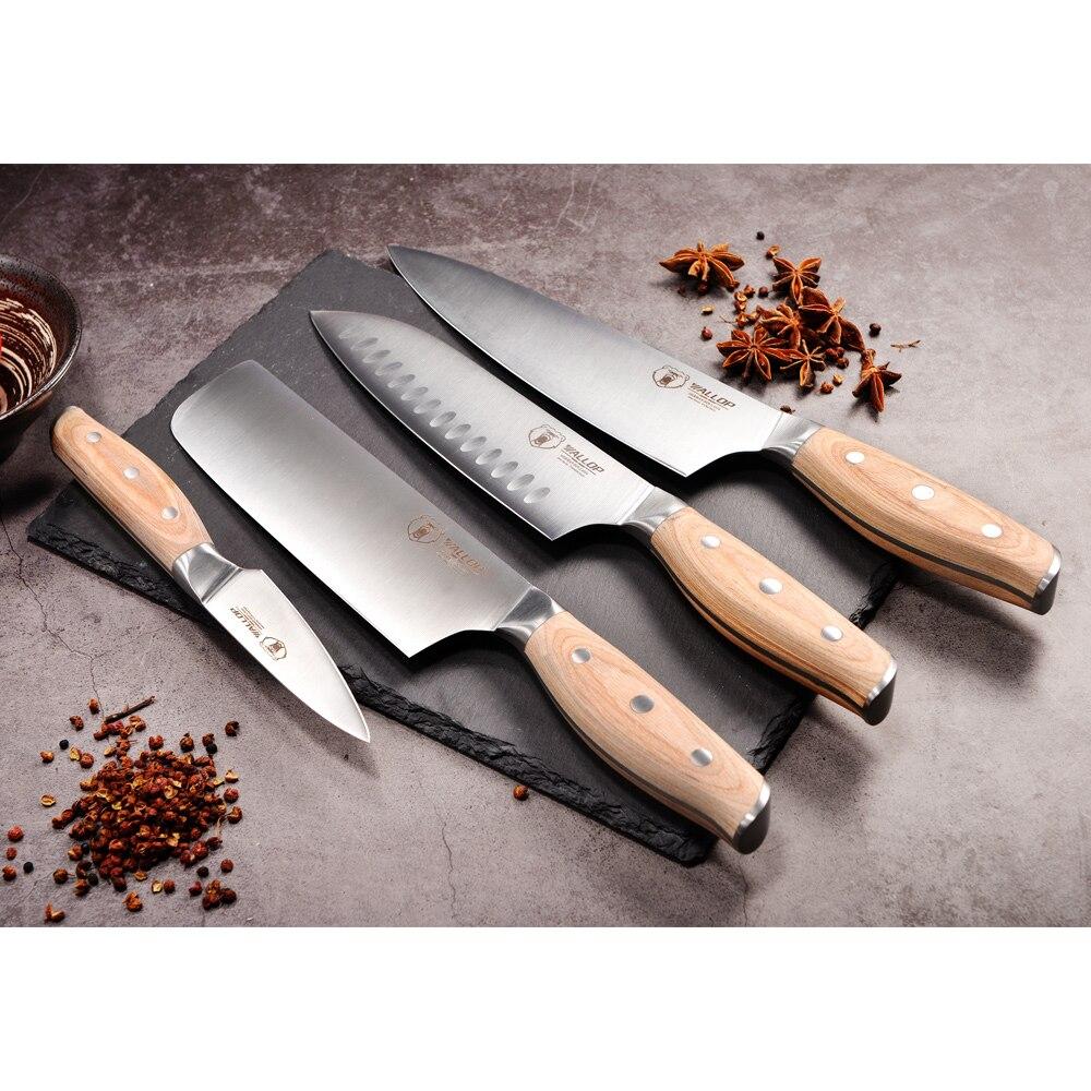 Golpe de cocina profesional conjunto de cuchillos de cocina 4 piezas Chef Santoku cuchilla pelar vegetales cortador de cuchillo de acero inoxidable