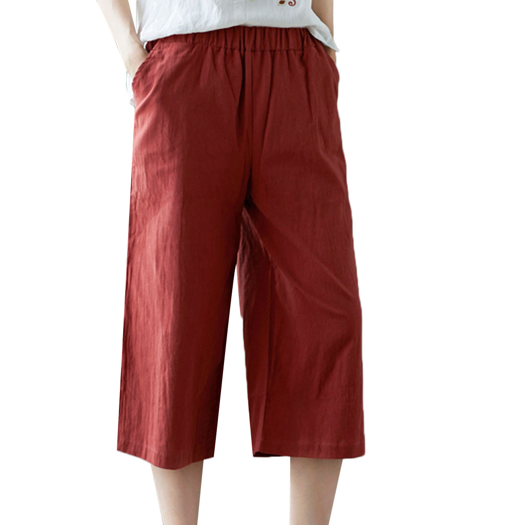 KLV 2019 Women's cropped   wide  -  leg     pants   casual elastic waist loose cotton and linen solid color short   wide     leg     pants   5.16