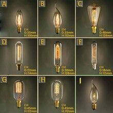 Урожай Ретро E14 Спираль Накаливания Эдисон Лампочка лампа Накаливания Для Подвесные Светильники Гостиная Спальня 220 В Новинка Светильник