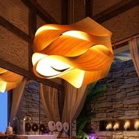 Персонализированные бамбука подвесные светильники творческий обмотки рук подвесные светильники ретро гостиная ресторан LOFT сад домашнего
