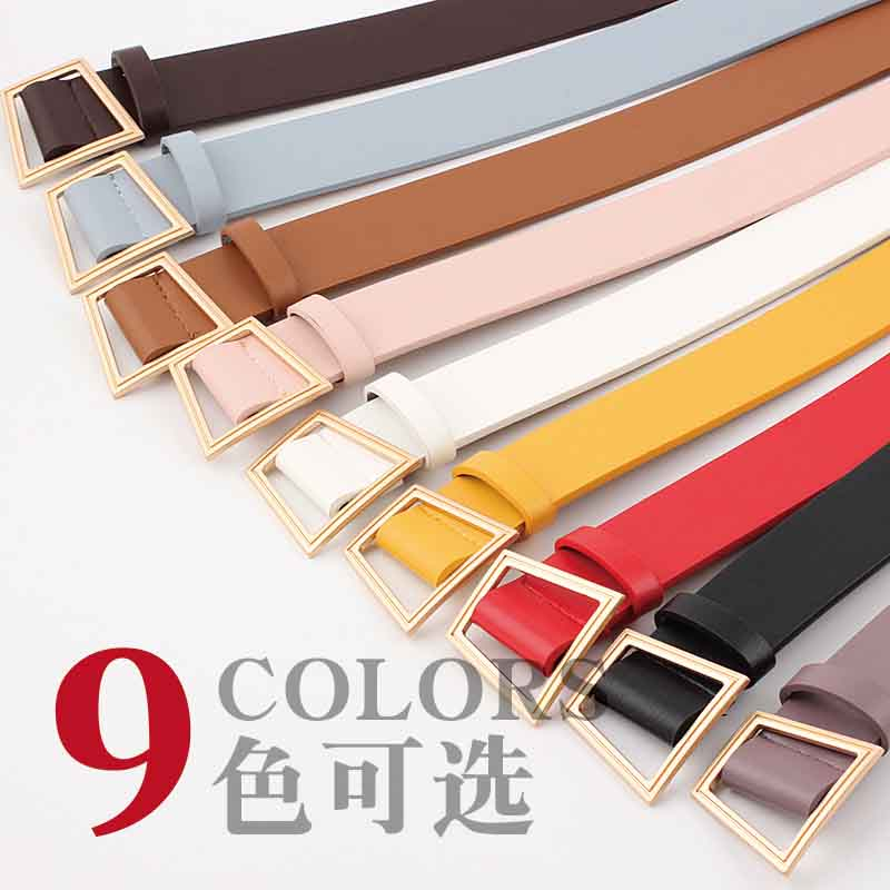 New women's needle free belt wild fashion jeans with women wide Korean version of the smooth buckle belt