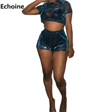 Summer Women Sexy Sheer Mesh Two Piece Set Crop Top and Shorts Transparent Slim Club Outfit Shorts Set Party Mesh Suit Shining