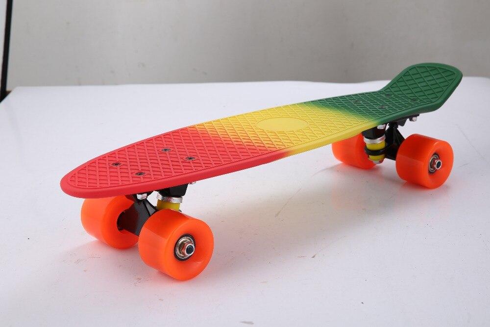 22 pouce planches à roulettes mini longboard complète peny skate board planche à roulettes en plastique pont enfants adultes 4 roues patins