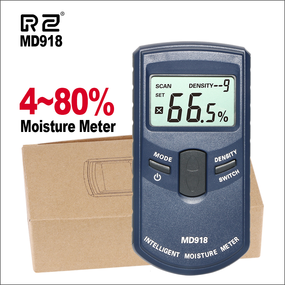 RZ Digital Wood Timber Moisture Meter Inductive Hygrometer Digital Humidity Tester Damp Detector Measuring Tool MD918RZ Digital Wood Timber Moisture Meter Inductive Hygrometer Digital Humidity Tester Damp Detector Measuring Tool MD918