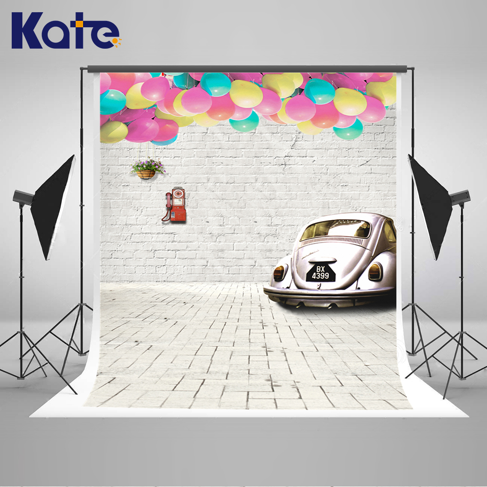 Kate Newborn Baby Backdrops Wood and Brick Wall Backdrop Globos and Car Children Background Fairy Tale World Photo For Studio