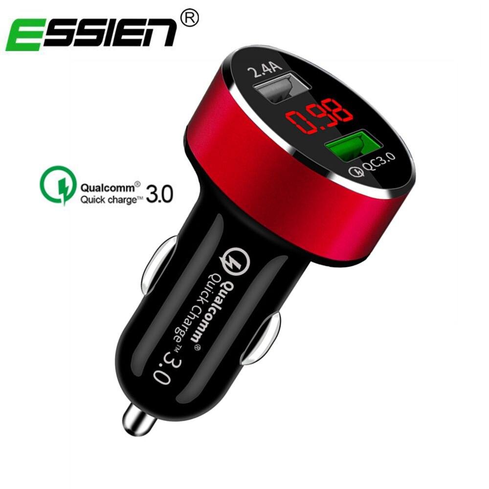 Chargeur de voiture universel double USB Charge rapide 3.0 3.1A (Max) affichage de tension de LED numérique en aluminium Charge rapide automatique pour Smartphone