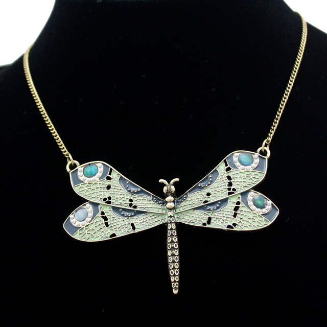 23aa39afb49ea US $4.5 18% OFF|Victorian Green Celtic Dragonfly Enamel Wing Art Nouveau  Pendant Necklace Jewelry Handmade Art Deco Kitsch Costume-in Pendant ...