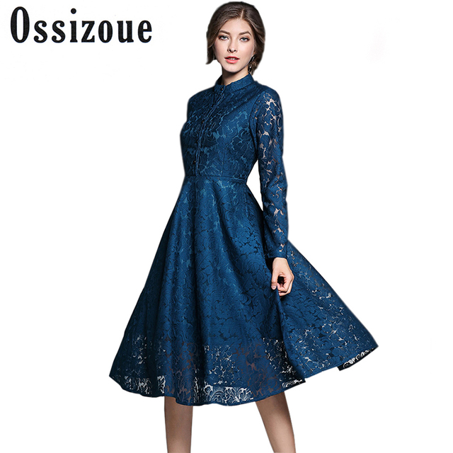 b96400e0153 2017 Autumn Women Lace Dress Elegant Solid Color Long Sleeve Stand Collar  Ball Gown Tunic Evening Party Dresses Vestido De Festa