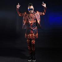 3 Piece Jacket Vest Pants Fashion Korea Style Men's Printed Suits Dance Wear Costume Nightclub Bar Dance Stage Outfit Singer