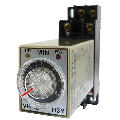 DC24V/DC12V/AC110V/AC220V  0-6 Minute 6m Timer Power On Delay Time Relay 8 Pin H3Y-2 w Socket knob control dc24v dc12v ac110v ac220v 8p dpdt 5s seconds timer time delay relay w socket h3y 2