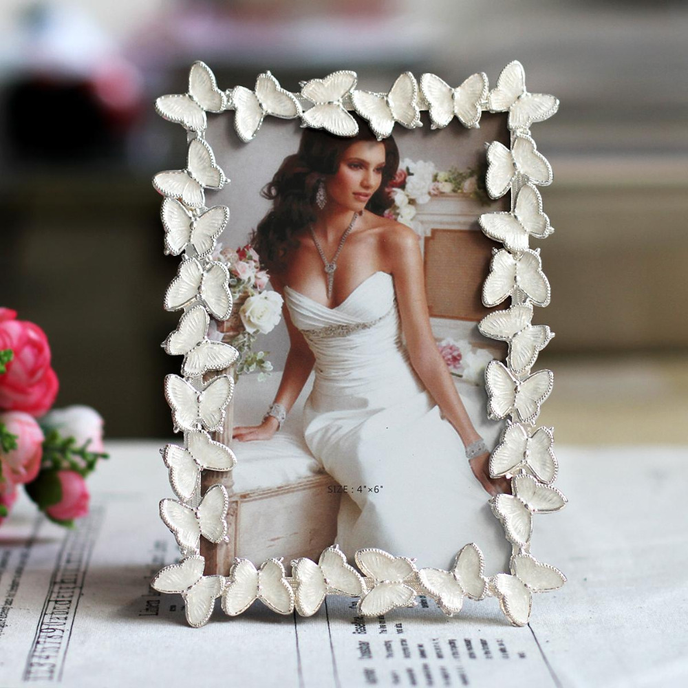 White butterfly wedding photo frame metal picture frame for Butterfly wedding