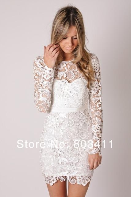 PROMOTION FreeShipping Sheath Full Sleeve Knee Length Short Lace Wedding Dress Reception