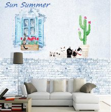 Nordic minimalist cactus children's room wallpaper living room sofa bedroom wallpaper background wall covering mural(China)