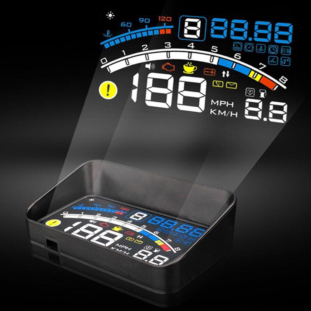 imágenes para Actisafety 2017 lector de la velocidad de hud head up proyector del coche car styling auto-adaptable de combustible del coche de alarma de visualización de parámetros, etc sistema