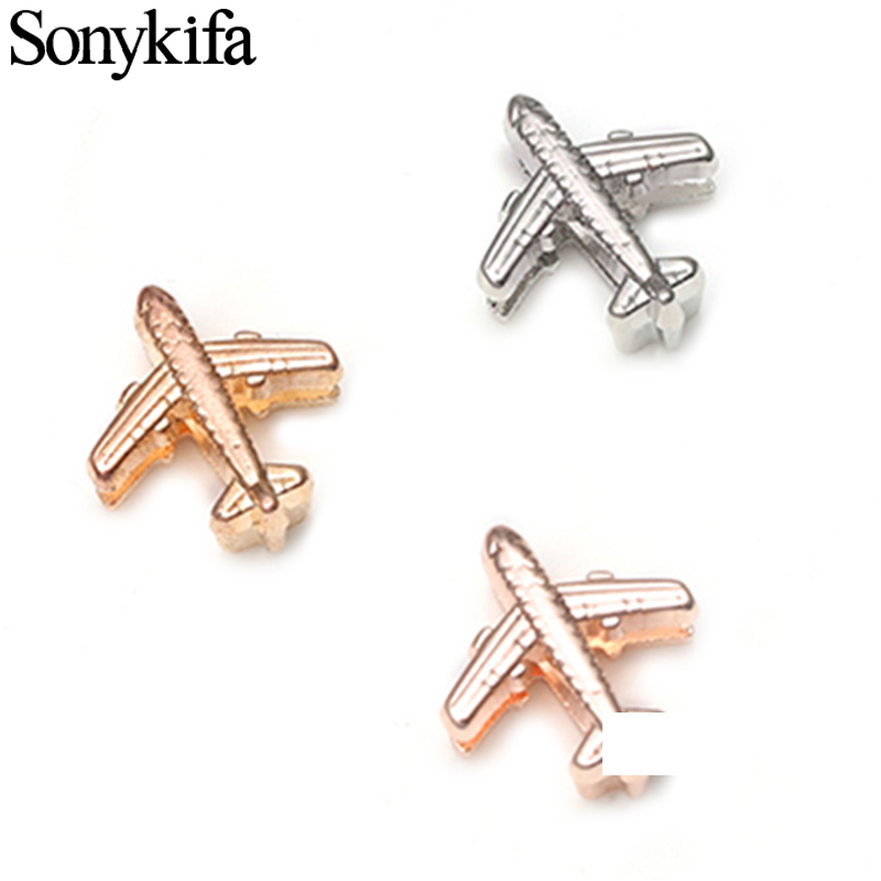 Sonykifa 10mm Crystal Aircraf Slide Charms Flat Hole Metal Pandora Beads Keeper Fits Stainless Steel Mesh Bracelets DIY Jewelry