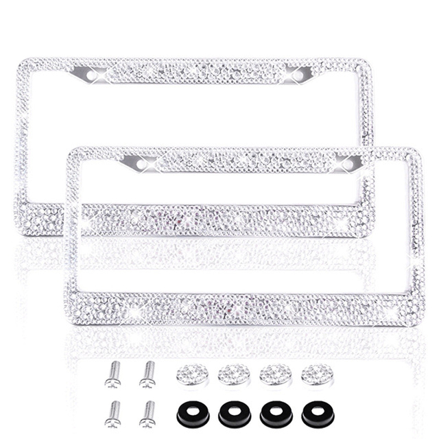 Aully Park Handmade Bling Rhinestone Stainless Steel License Plate Frame With 2 Holes S Caps Pack Hot White