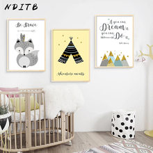 NDITB Tribe Woodland Animal Fox Feather Canvas Art Poster Nursery Print Cartoon Tent Wall Picture for Kids Living Room Decor(China)