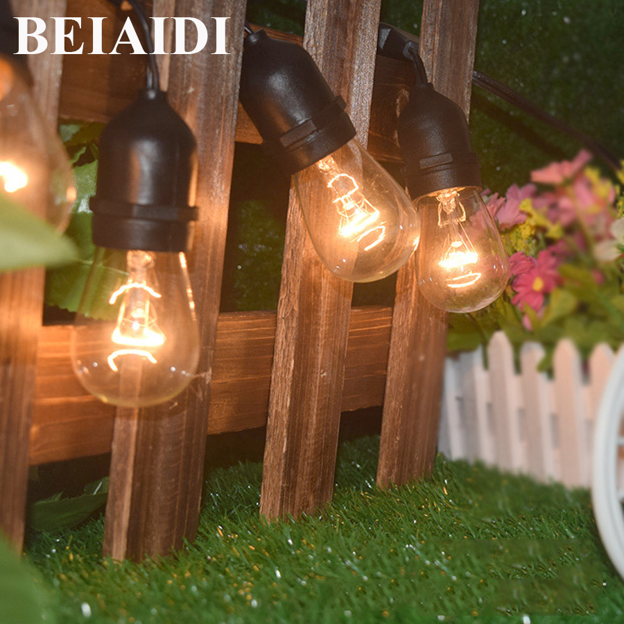 BEIAIDI Waterproof Globe String Light with Clear S14 Bulb 9M Commercial Christmas Party Decor String Light Outdoor Patio Garland 20pcs bulb string light