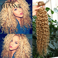 Malaysian Curly hair kinky straight 3 pieces Malaysian Virgin hair Pure #27 short remy blonde human hair curl weave bundles Hair
