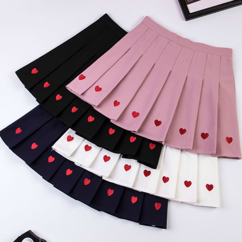 Korean Harajuku Japan Kawaii Ulzzang Pleated Skirts Women Love Embroidered Skirt Female Punk  Cute Mini High Waist Skirts