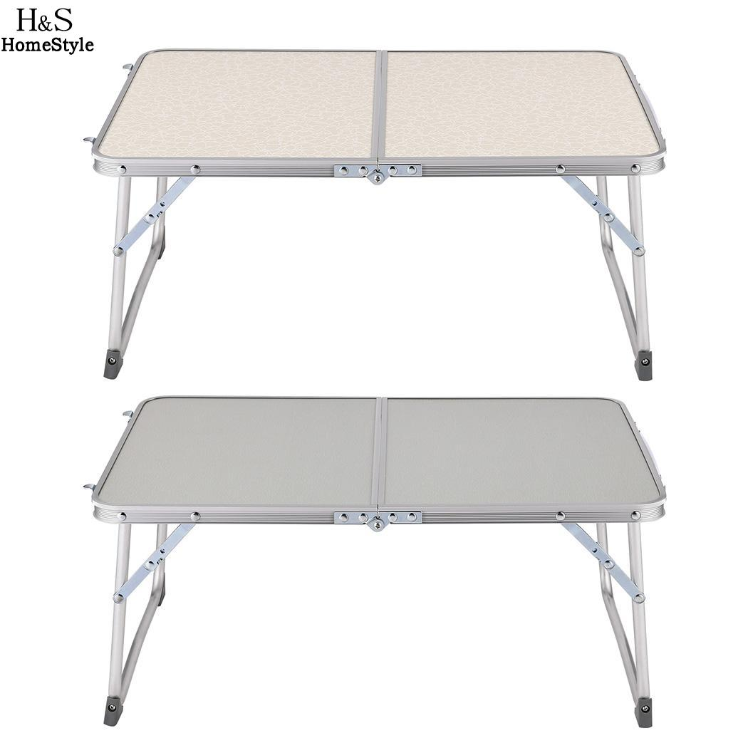 Superjare in Half Foldable Laptop Table Desk Bed Folds Breakfast Serving Bed Tray Portable Mini Picnic Table 1pc white multifunctional light foldable table dormitory bed notebook small desk picnic table laptop bed tray
