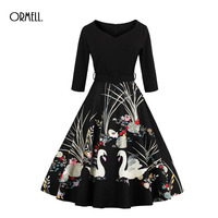 ORMELL 2017 Swan Print Vintage Dresses Summer Style 50s Elegant Party Dress With Sashes Spring Dress