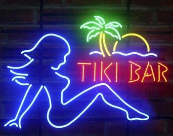 Tiki Bar Girl Custom Beer Bar Glass Neon Light Sign